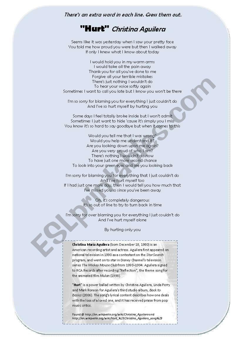 Song: Hurt [Christina Aguilera]